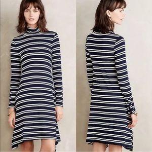 Maeve Striped Mock Neck  Dress  Size Medium